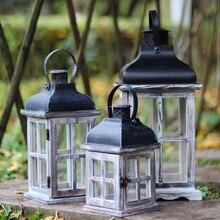Europejskie drewniane światła świecznik rzemiosło świecznik Home Decor wiatroodporny świecznik ozdoby Retro świecznik