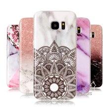Pour Coque Samsung Galaxy S7 bord étui de luxe en marbre souple couverture en TPU Texture de pierre couverture de téléphone arrière pour Samsung S7 bord étui