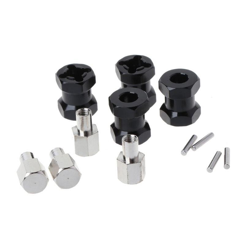 4 pcs roue moyeu hexagonal M12 12mm adaptateur dextension M15 15mm 4 plus long combinateur coupleur alliage pour 1/10 RC chenille RC pièces de rechange