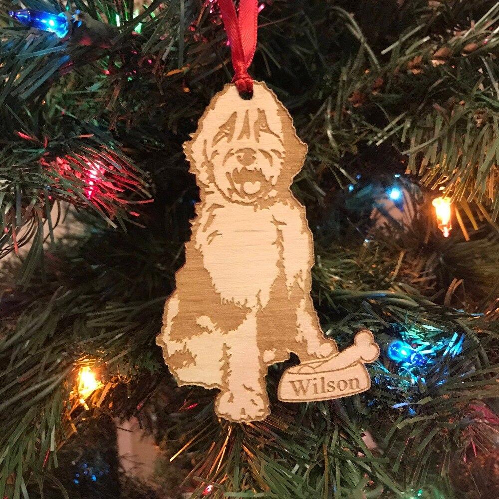 Ornamento de Navidad de Sheepadoodle *** ornamento personalizado para perros *** regalo para amantes de los perros *** adorno navideño para mascotas