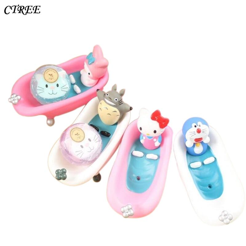 CTREE New Soap Dish Box Home Bathroom Accessories  Creative Cute Cartoon Pink Cat Set Holder Wash Drain Shower Case Gift box C52