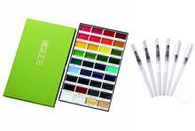 Kuretake Gansai Tambi Solid  Water Color 36 Set plus 6 Water Color Brush Pen Set Great Watercolor Painting Set