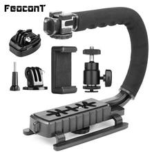 Pro Camera Stabilizer Triple Shoe Mount Video Holder Video Grip Flash Bracket Mount Adapter Voor Gopro Nikon Dslr Slr Iphone X 8