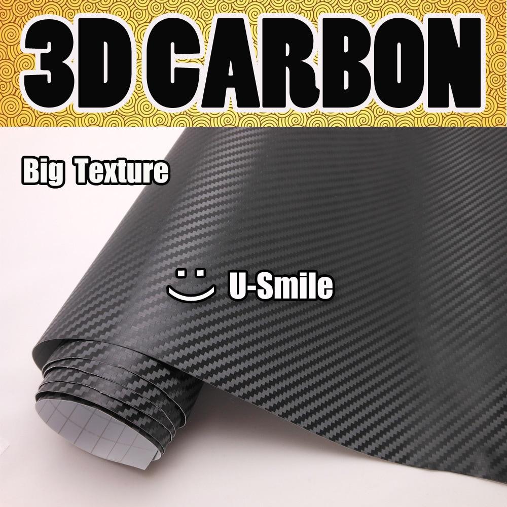 Gran textura negro 3D fibra de carbono vinilo coche envoltura rollo de película negro 3D carbón envoltura burbuja gratis para coche vinilo de etiqueta
