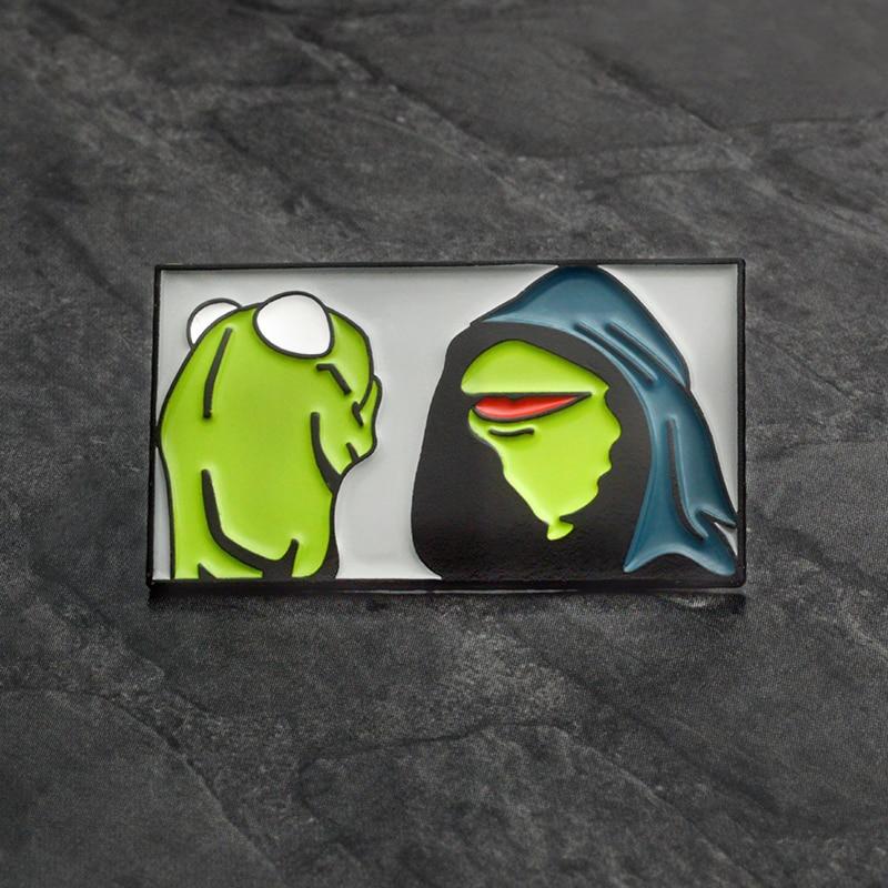 Frog Inner Me Brooch Pin Cartoon Animal Enamel pin Button Badge Evil Kermit the Frog Brooch for Women Men Hat Bag Accessories