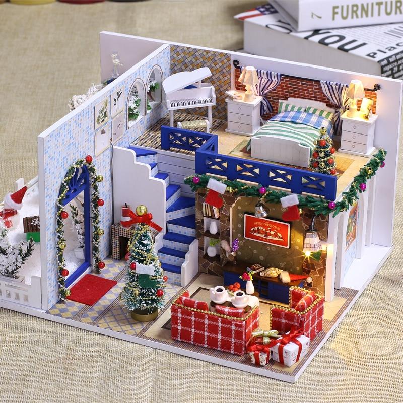 DIY Casa de muñecas modelo de madera muebles juego de construcción montaje de juguetes de regalo de Navidad para niños adultos