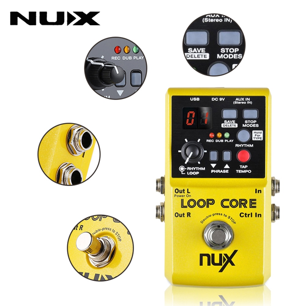 NUX Loop Core Pedal Guitar Effect Looper 6 Hours Recording Time Drums Patterns with Tap Tempo Music Electric Guitar Accessories enlarge