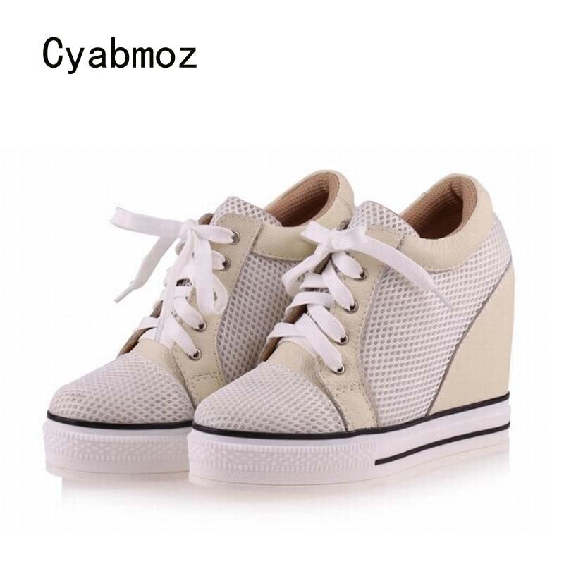 Cyabmoz zapatos de cuña de plataforma de tacón alto de moda para mujer, zapatos informales de mujer con cordones transpirables de altura creciente