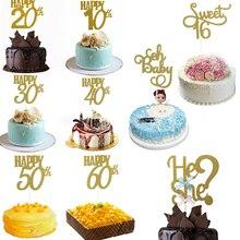 1Pc Happy Birthday Party Cake Topper Glitter Bruid Om 10th 30th 40th 50th 60th Anniversary Decoratie Bruidstaart decoratie