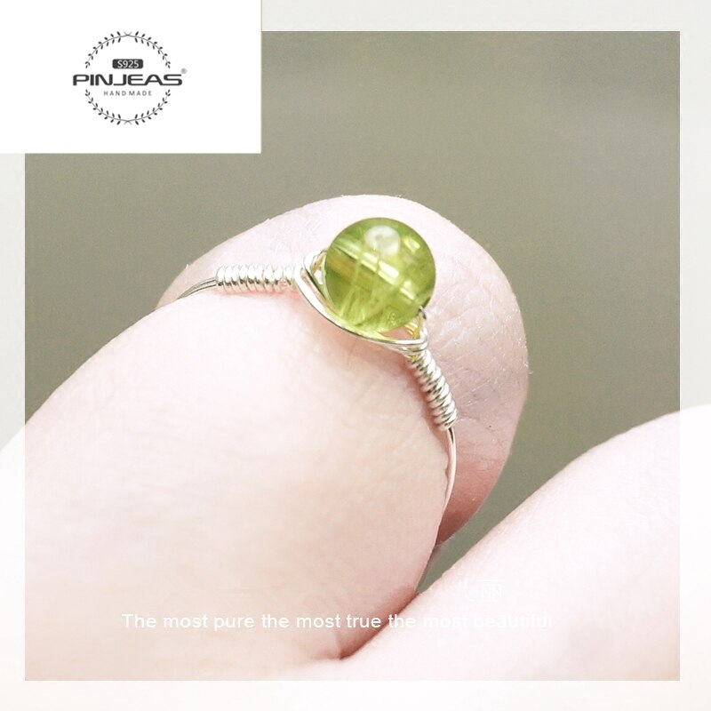 PINJEAS artesanal Peridot Gem stone Anel Pilha, Birthstone Anel de Pedra Verde, contas artesanais promise Exquisite Charme anel
