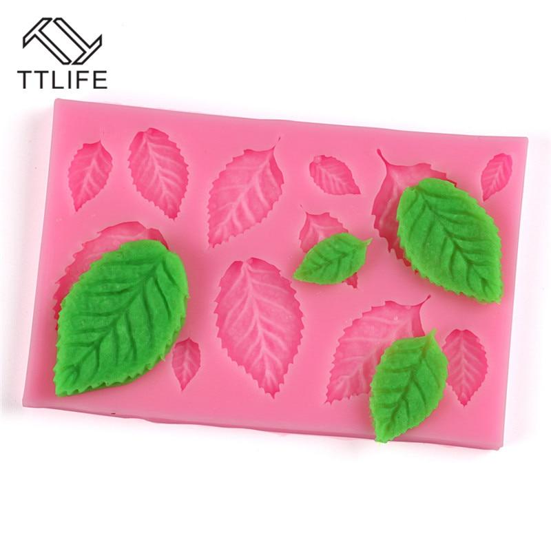 TTLIFE árbol de manualidades de prensa de molde de silicona pastel decoración Fondant moldes torta 3D hojas Chocolate dulces Fimo molde de arcilla