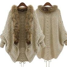 Fashion Women Faux Fur Collar Coat Batwing Sleeve Loose Casual Warm Cardigan Shawl Sweater