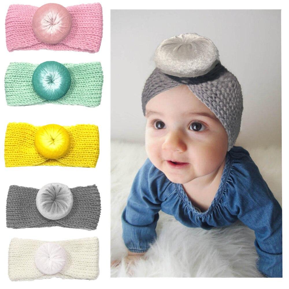 Шерстяная повязка на голову Yundfly, тюрбан для новорожденных, круглая шариковая повязка на голову, вязаная крючком повязка на голову, аксессуа...