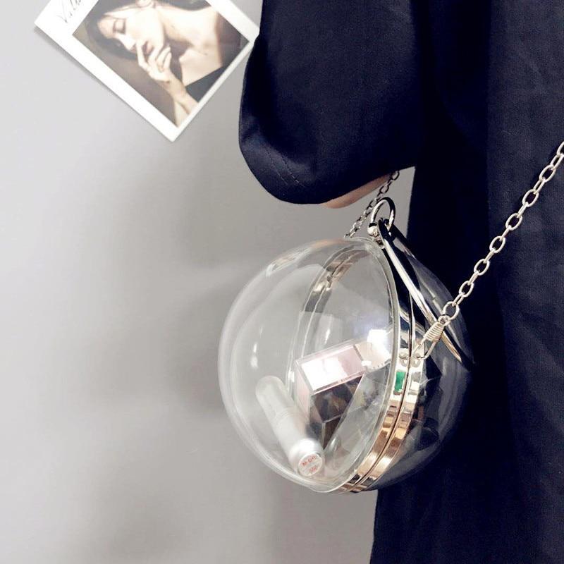 Bolso LANMREM 2020 verano moda bola redonda transparente bolso nuevo femenino gran oferta bolso con diseño oblicuo cadena paquete YE195