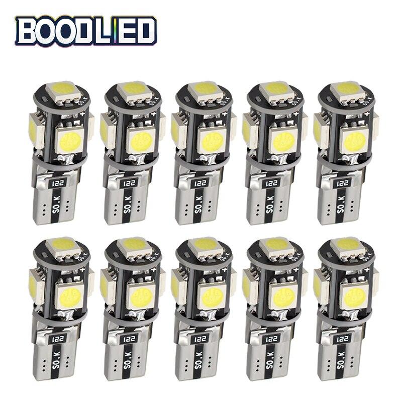T10 W5W LED Bulb Canbus White 5050 SMD 5 SMD Led Car Light 194 168 Bulbs DC 12V Wedge Lamp Band Decoder Sign Trun Light 10pcs