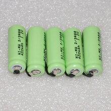 3-6 UNITEK 1.2 V 2/3AAA batterie rechargeable 400 mah 2/3 AAA ni-mh cellule avec onglets de soudage broches plateau plat pour jouets téléphone sans fil
