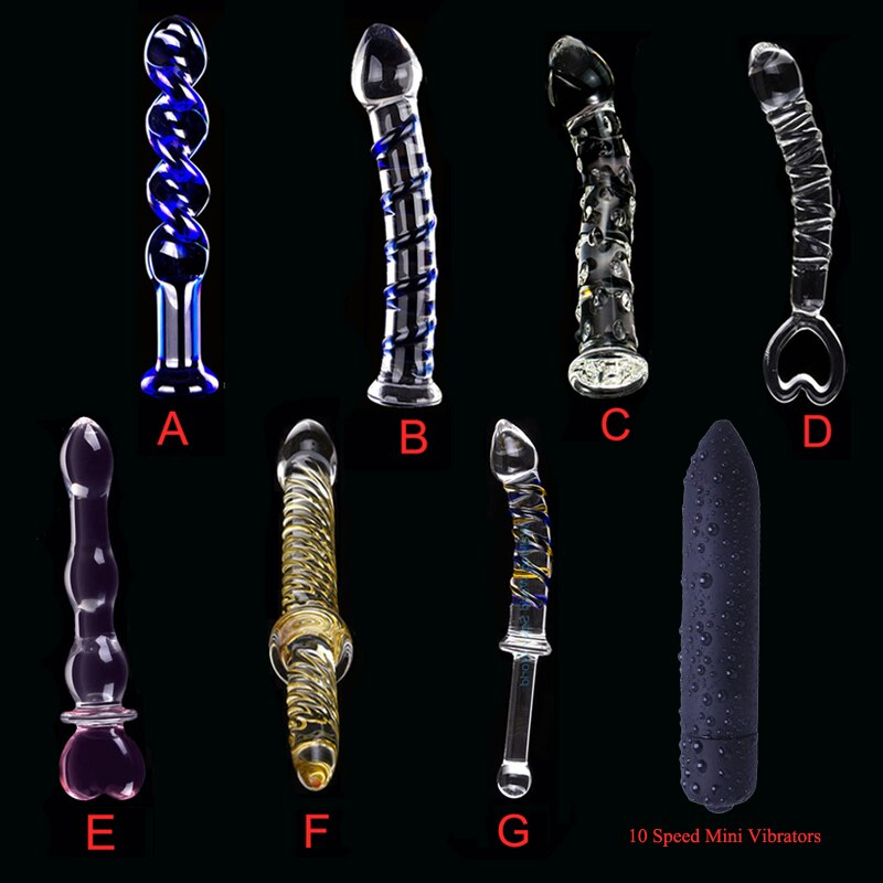 YUELV 7 Style Pyrex Glass Dildo Artificial Penis Female Masturbate Anal Butt Plug Anal Sex Vibrators Erotic Toys For Women Men