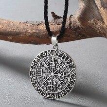 Collier boussole de guide CHENGXUN Talisman Viking aîné Futhark pendentif noix de coco amulette païenne Vegvisir cadeau scandinave nordique