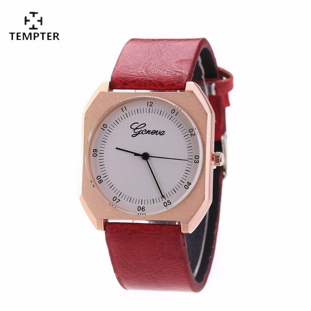 Nuevo reloj de las mujeres plaza de dama vestido reloj de las mujeres de cuero Casual de cuarzo analógico reloj de pulsera para regalo relojes feminino 2017