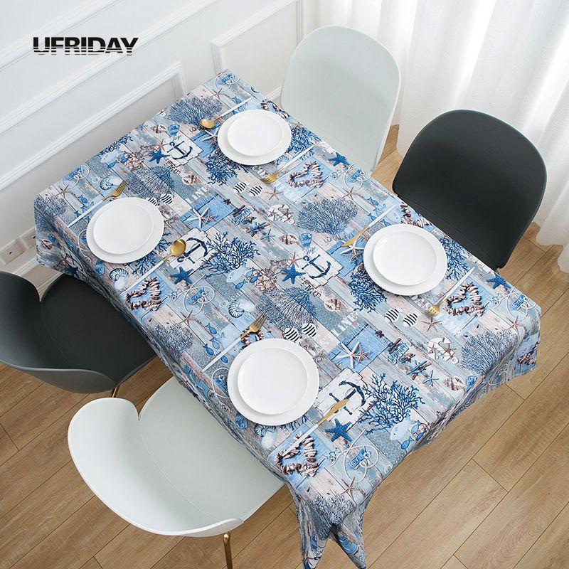 UFRIDAY Rectangular mantel para decoración del hogar de tela impermeable de alta calidad mantel mundo submarino Shabby Chic Tafelkleed