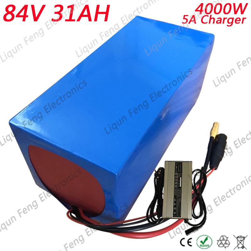 Envío Gratis alta potencia 4000W 84V 30AH Scooter Eléctrico batería de iones de litio 84V 30AH con cargador de 96,6 V 5A construido en 30A BMS