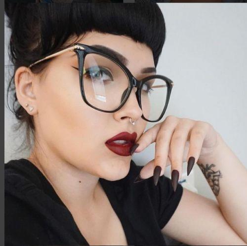 Senhora óculos de olho de gato quadros para mulheres sexy oversized metal frame marca designer óculos ópticos moda eyewear 45077