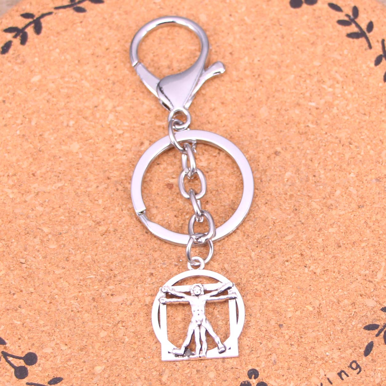 New Fashion Silver Color Alloy Metal Pendant Da Vinci Human Figure Key Chain Key Ring Gift For Car Keychain Accessory