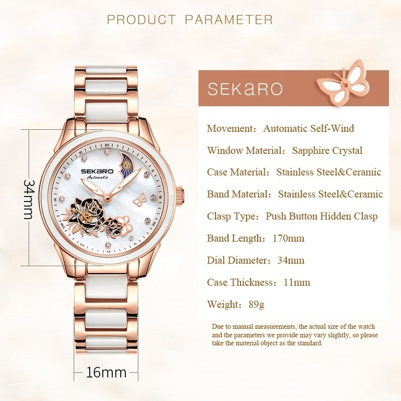 Sekaro 2020 Ceramic Women Watch Butterfly Design Ladies Mechanical Automatic Watches Luxury Brand Sapphire Crystal Women's Watch enlarge