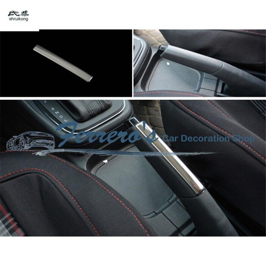 Envío gratuito, 1 unidad de pegatinas para coche, cubierta de freno de mano de acero inoxidable, lentejuelas decorativas para Volkswagen VW POLO 6R 6C 2011-2017