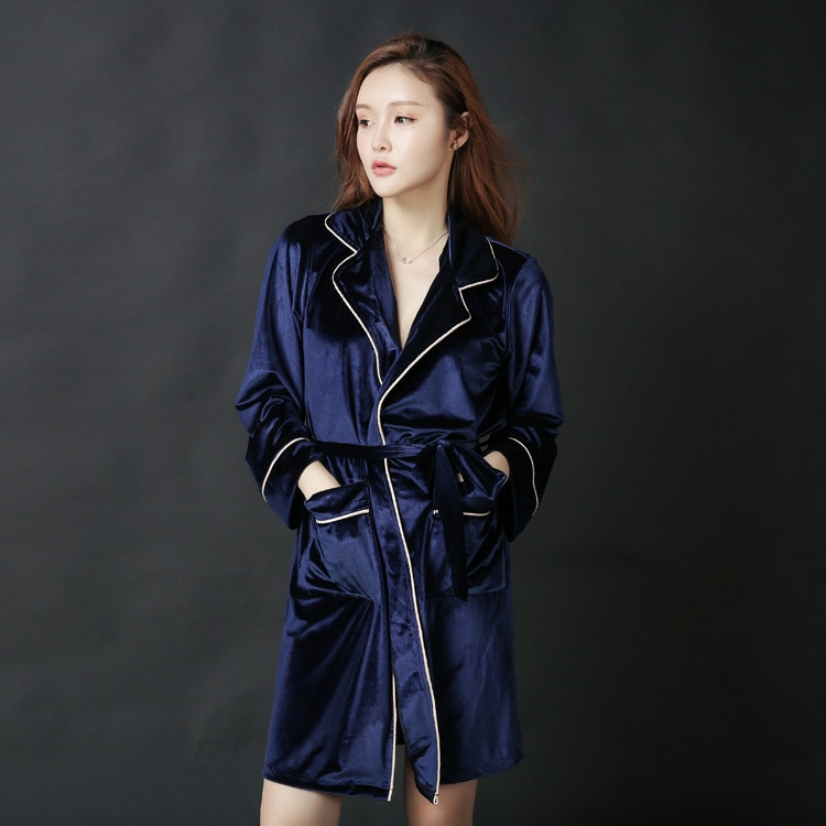 Autumn and winter new fashion sexy lapel long sleeve thick cardigan solid color ice velvet long pajamas morning robe bathrobe enlarge