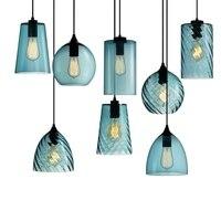 Retro Industry Single Head Led Pendant Lamp Crystal Blue Glass Coffee Bar Restaurant Living Room Hanging Lighting