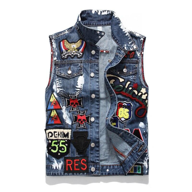 Punk Denim hombres cráneo bordado pintado Jeans chaleco marca chaqueta sin mangas para hombre arrancó vaquero deshilachado chaleco DS50542