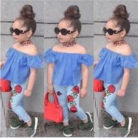 girl clothes set summer girl off shoulder t shirt topsjeans 2pcs children clothing girl sets costume for kids 1 2 3 4 5 6 years