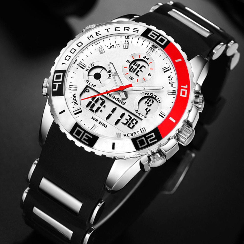Readeel brand men sports watches 2 time zone man fashion watch rubber digital quartz wristwatches relogio masculino clock male super large dial watch men luxury brand two time zone military sports watch quartz clock time steel belt lelogio masculino
