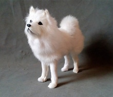 simulation cute white samoyed 24x20cm model polyethylene&furs dog model home decoration props ,model gift d326