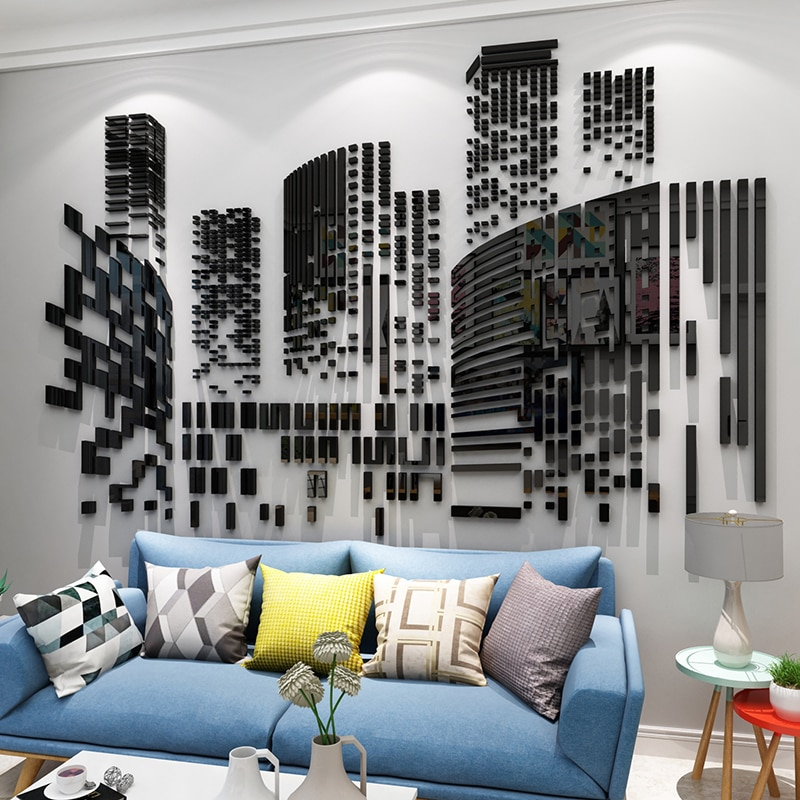 Creative DIY geometric City sketch INS chidren's room bedroom living room TV background wall decoration 3D acrylic wall sticker