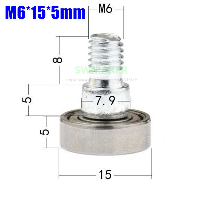 1 pcs M6 * 15*5mm m6 parafuso de rosca externa do rolamento da polia, parafuso rolamento rolamento da roda