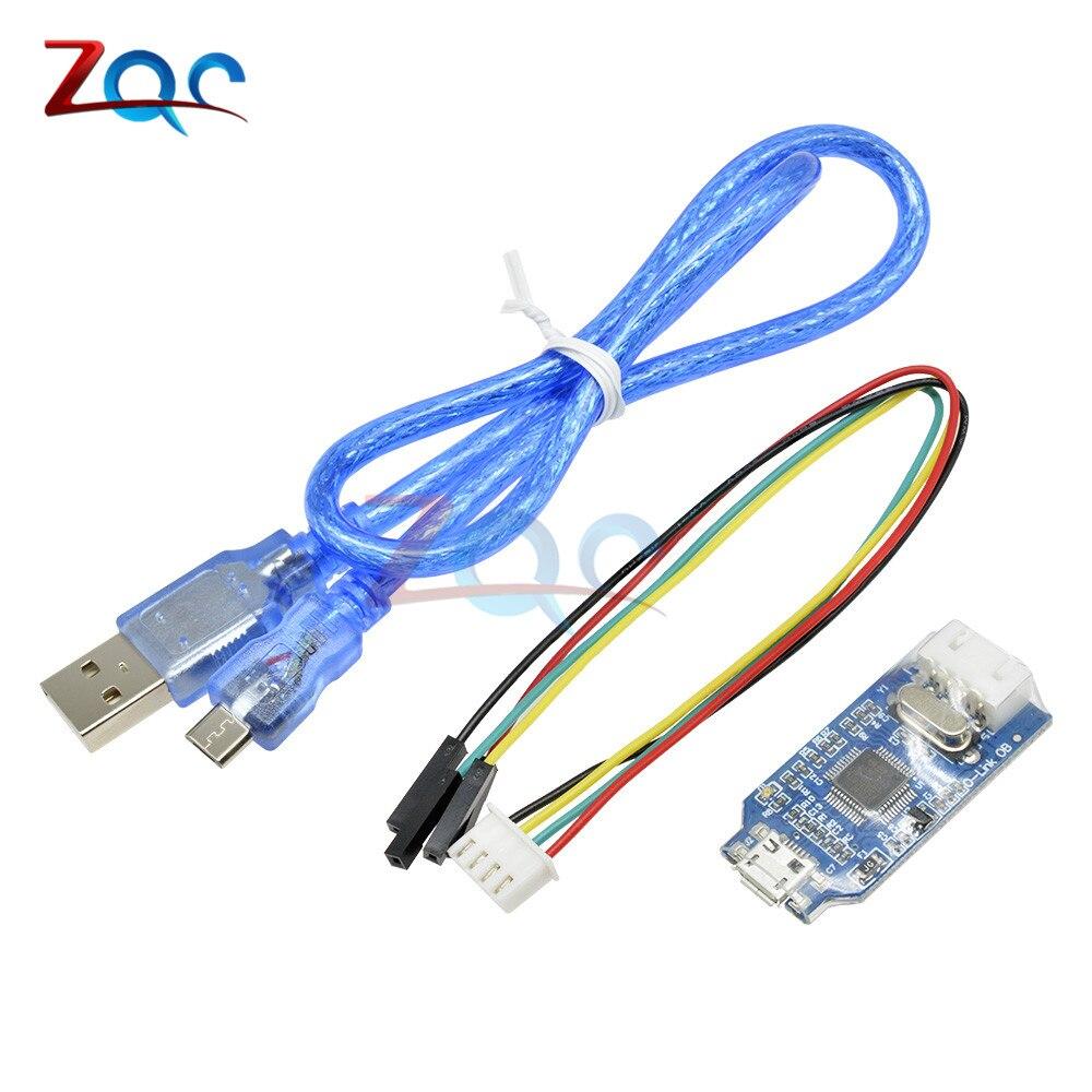 OB brazo Depurador del emulador programador Downloader reemplazar V8 SWD M74 para Arduino J-enlace con Micro USB Cable 4 Pin de alambre de puente