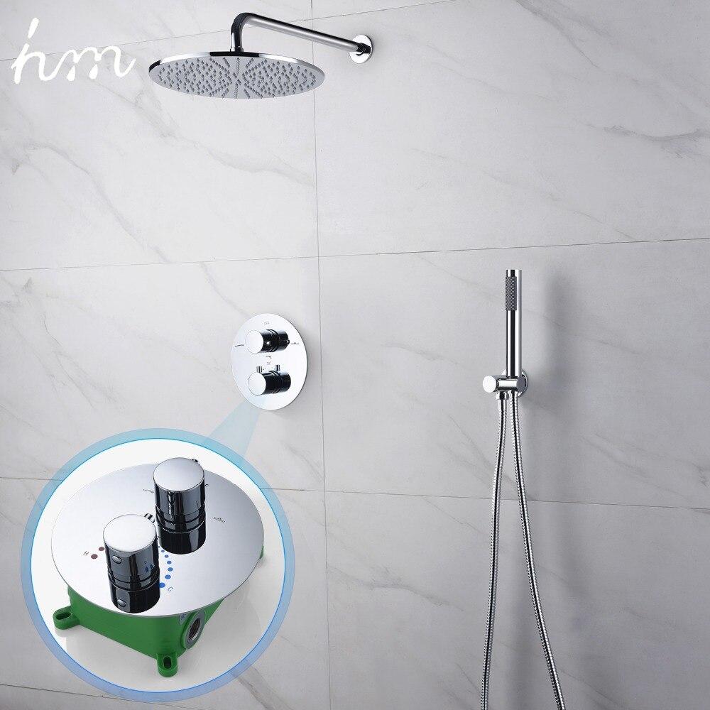 Hm termostático doble sistema de ducha 10 pulgadas o 8 pulgadas de latón conjunto de Ducha