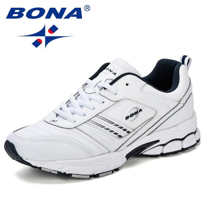 BONA-أحذية رياضية من الجلد المقسم للرجال ، أحذية رياضية عصرية ، مقاس كبير ، مريحة