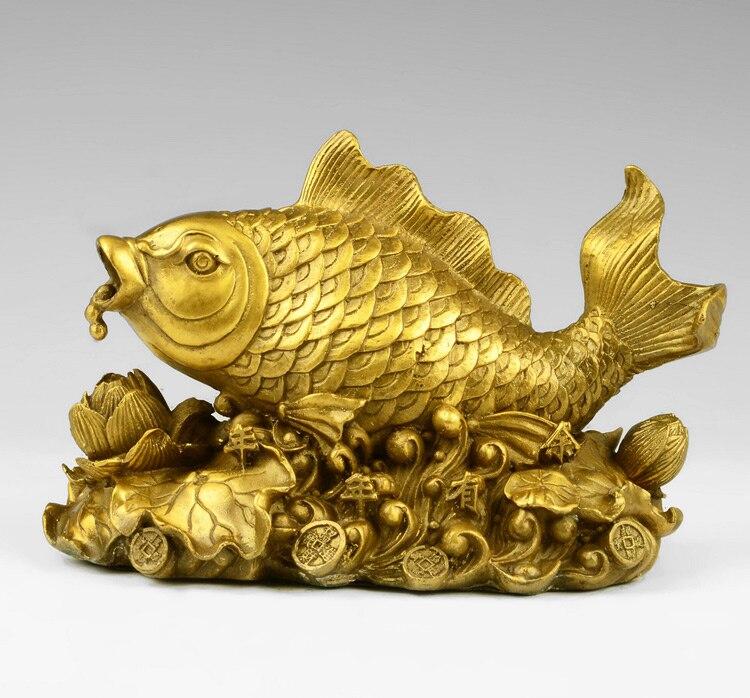 Asiático do vintage Gilt Bronze Estátua Estatueta Peixe Sorte E Flor De Lótus