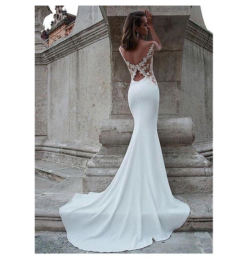 Купить с кэшбэком LORIE Wedding Dresses 2019 Mermaid Style Soft Satin Appliques Lace Beach Bride Dress Sexy Mermaid Wedding Gown