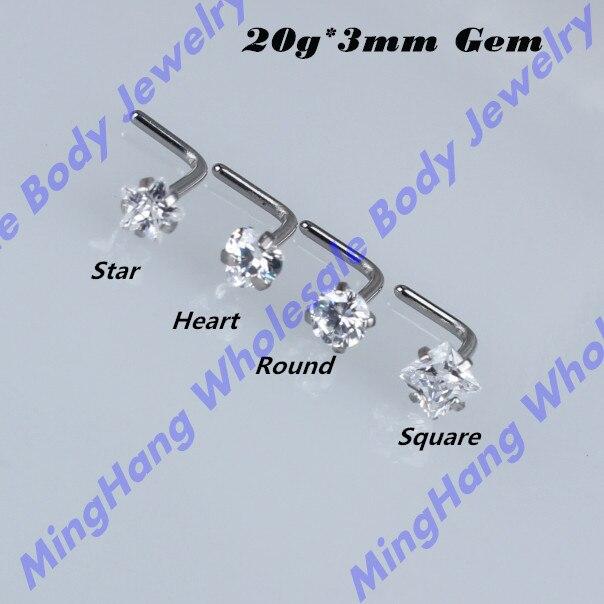 40 pcs/lot (20 Gauge) Mixte 4 Forme En Acier Inoxydable Micro Anneau de Nez Hoop Boucles En Forme de L Piercing bijoux