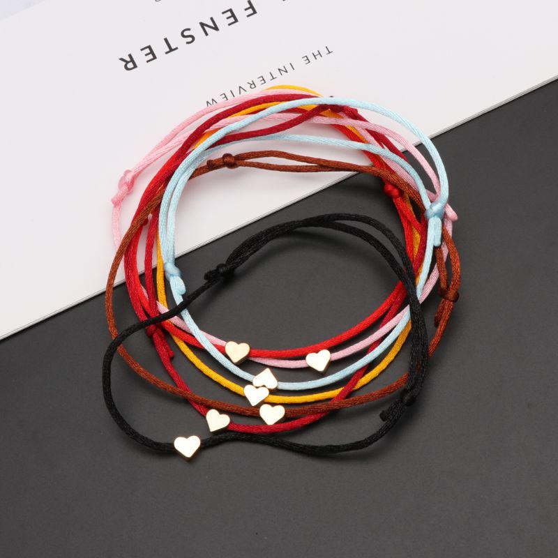 Cábala de la suerte corazón encanto tejido cadena roja amor pulsera amistad joyería