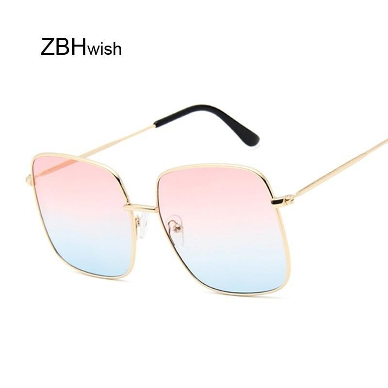 Retro Big Square Sunglasses Women Vintage Brand Shades Progressive Metal Color Sun Glasses For Femal