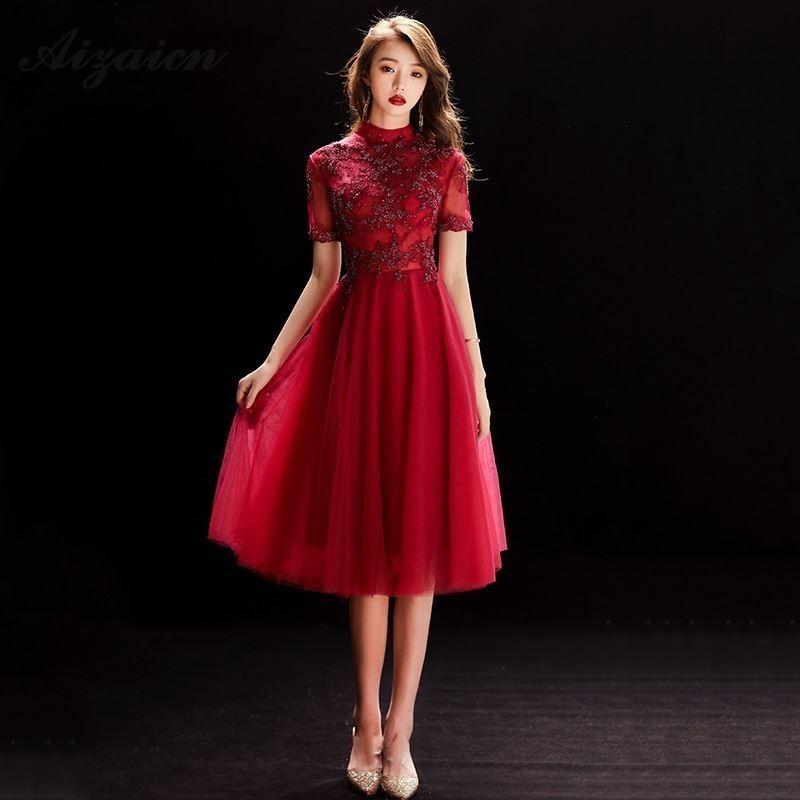 Chino vestido de boda Oriental tradicional vestidos Cheongsam rojo cordón Qipao Rouge...