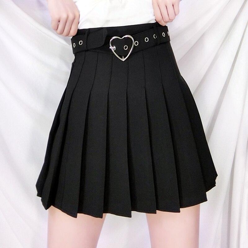 Novo verão lolita cosplay sexy saia feminina doce estilo preppy mini saia plissada plus size dança saia combinando coração cinto