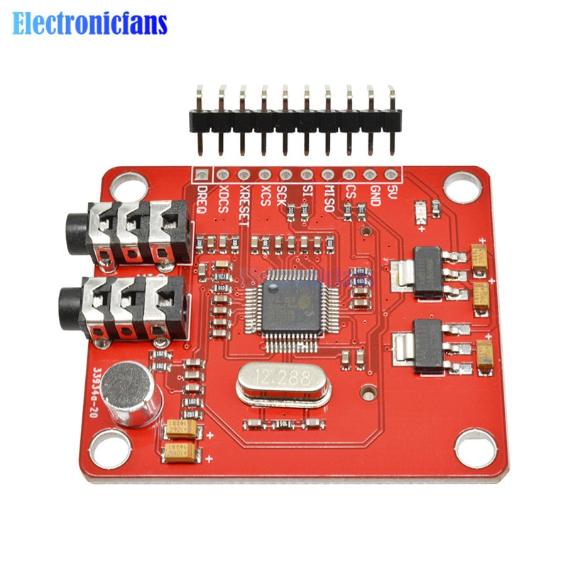 VS1053 VS1053B MP3 Module With SD Card Slot VS1053B Ogg Real-Time Recording 12.288 Mhz Crystal 16-Bit PCM For Arduino Uno