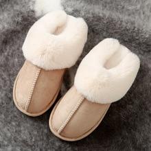 Zapatillas de piel sintética para mujer 2020, zapatillas de Invierno para mujer, zapatilla de casa, pantuflas de felpa para mujer, zapatos de interior cálidos y mullidos de algodón