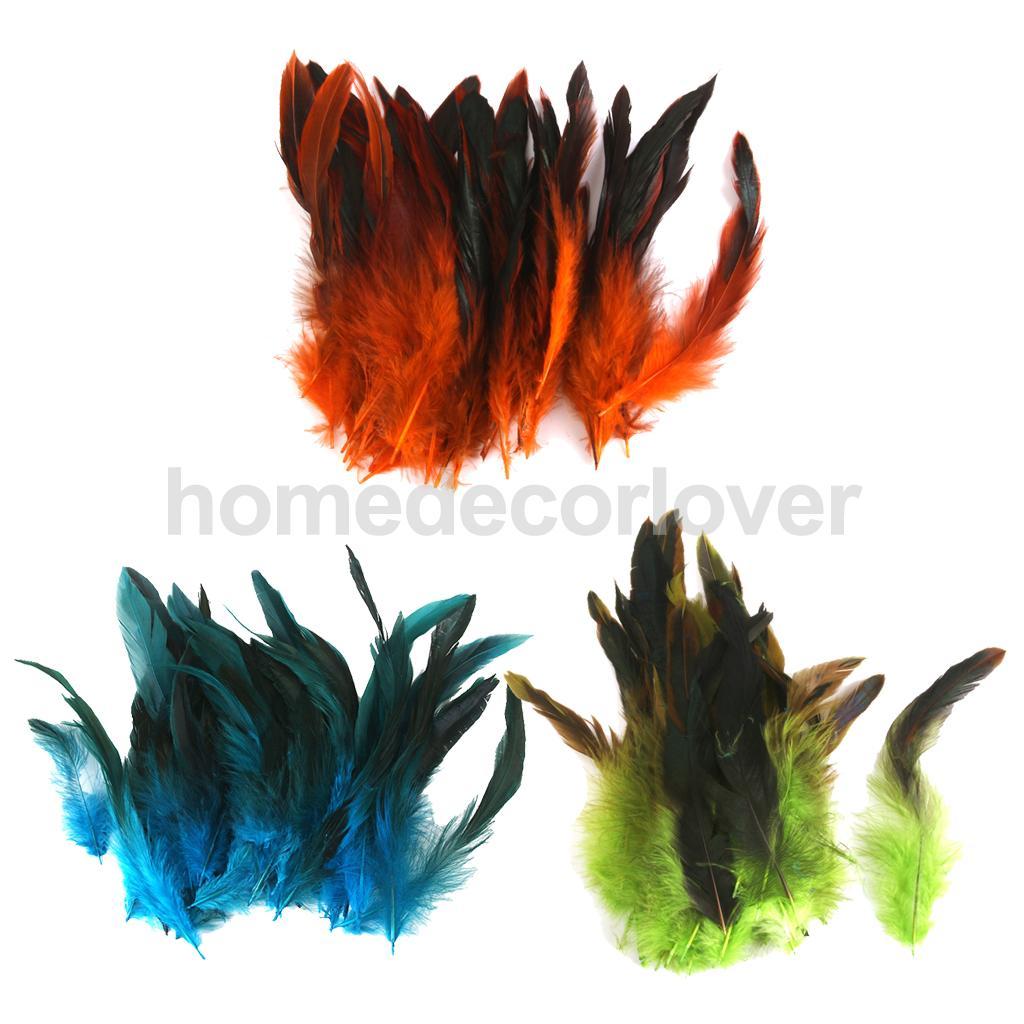 150 peças coloridas galo penas 12-18cm /4-7 polegada verde azul profundo laranja